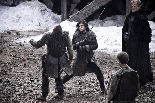 Jon with Grenn, Pypar and Alliser Thorne