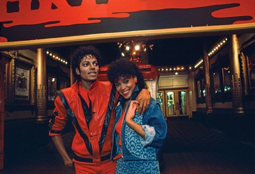 "Michael Jackson and Ola کرن, رے ""Thriller"" set"