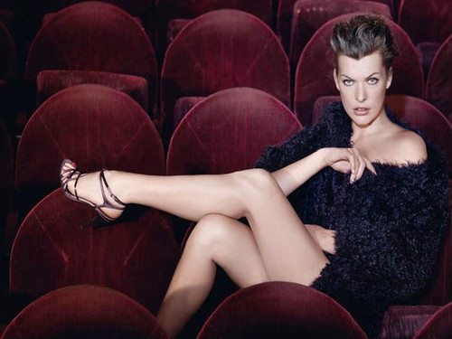 Milla Jovovich karatasi la kupamba ukuta possibly containing tights, a bustier, and a leotard titled Milla