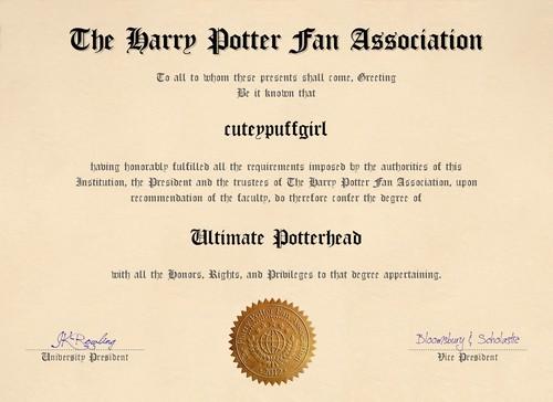 My Potterhead Diploma :)