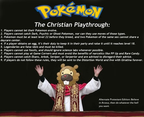Pokemon:Christianity edition.