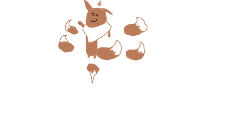 eevee i drew on paint saying hi lke a pikachu