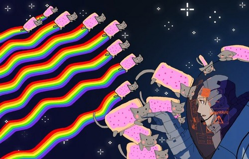 Nyan Cat wallpaper probably containing anime titled nyan cat attack!!