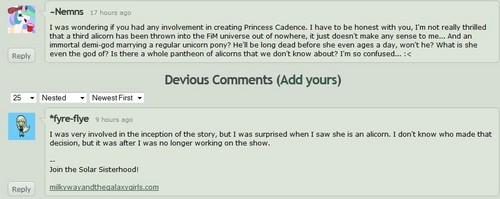 Apparently Ms. Cadence wasn't originally supposed to be an Alicorn