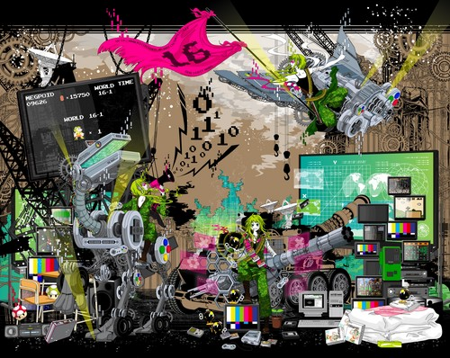 Gumi (Vocaloids) fondo de pantalla possibly with a sign and an internal combustion engine called Bokura no 16bit warz