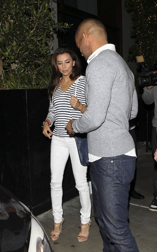 Desperate Housewives wallpaper probably with a street, a pantleg, and a carriageway called Eva Longoria having a dinner date with Amaury Nolasco at STK Steakhouse