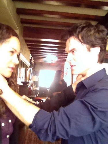 Ian and Persia on the set