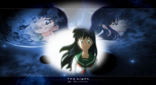 Inuyasha.:The Final Act:. fondo de pantalla probably containing a televisión receiver, a sign, and anime titled Kagome and kikyo
