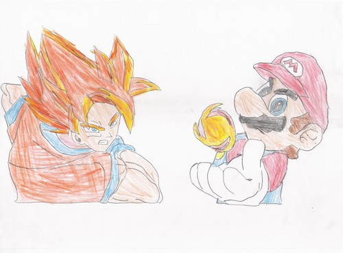 Mario And Goku wallpaper possibly with anime called Mario and Goku 2