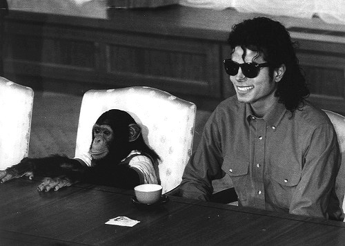 Michael Jackson and his monkey , Bubble :)
