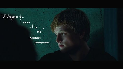 Peeta Mellark wallpaper possibly containing a sign and a portrait titled Quotes