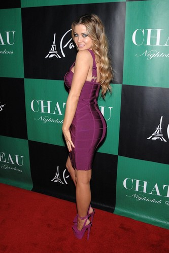 Carmen Electra wallpaper probably containing a leotard and a maillot titled St. Patrick's Day in Las Vegas [17 March 2012]