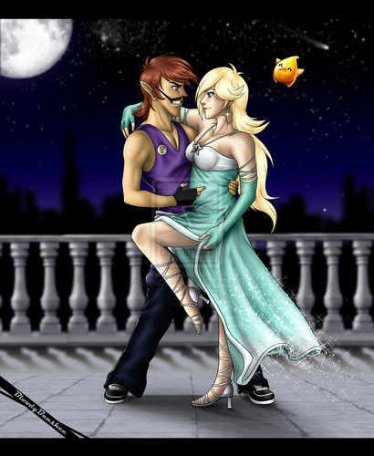 Waluigi and Rosalina romantic moments