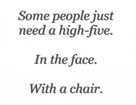 high five with a chair