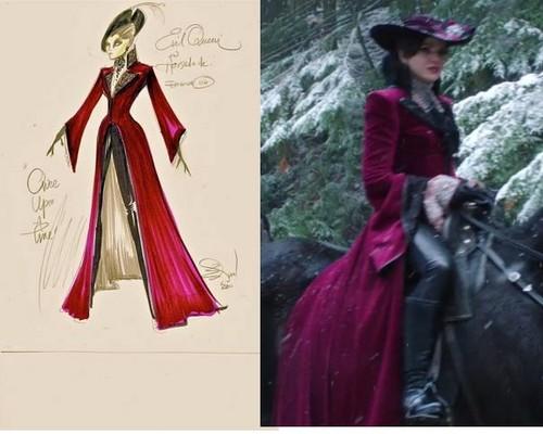 La Méchante Reine/Regina Mills fond d'écran possibly containing a polonaise, a dîner dress, and a kirtle, rapporté called original sketch compared to the final product