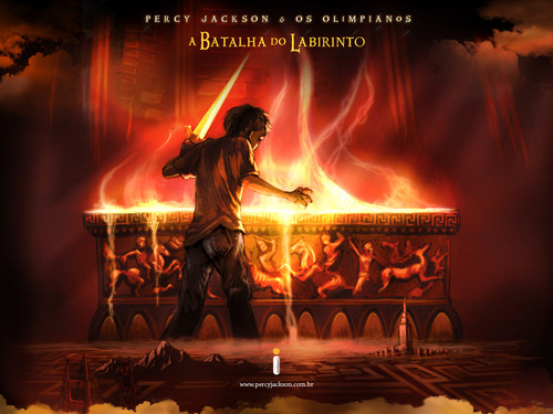 Percy Jackson & The Olympians boeken achtergrond with a brand titled the labyrinth of the battle