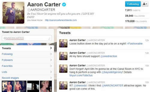Aaron Carter supports One Direction <3