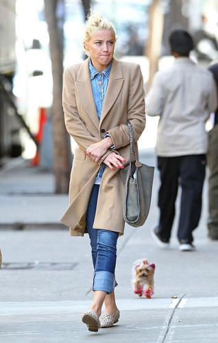 Amber Heard Strolls With Her rosa, -de-rosa Pooch (March 26)