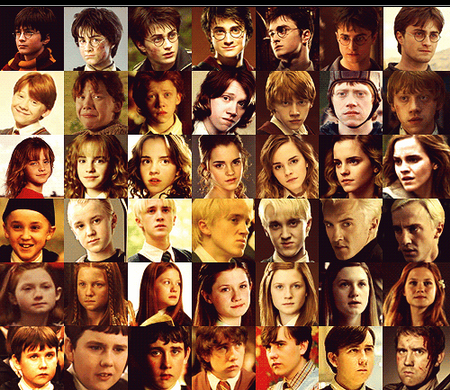 Harry Potter karatasi la kupamba ukuta entitled Characters over the years
