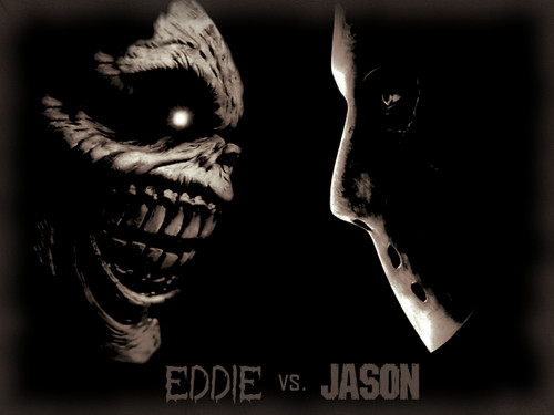 Iron Maiden wallpaper possibly with a cleaver entitled Eddie vs. Jason