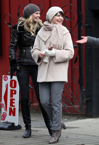 Ginnifer Goodwin and Jennifer Morrison on the Set of Once Upon a Time in Vancouver Dec 14 - once-upon-a-time Photo