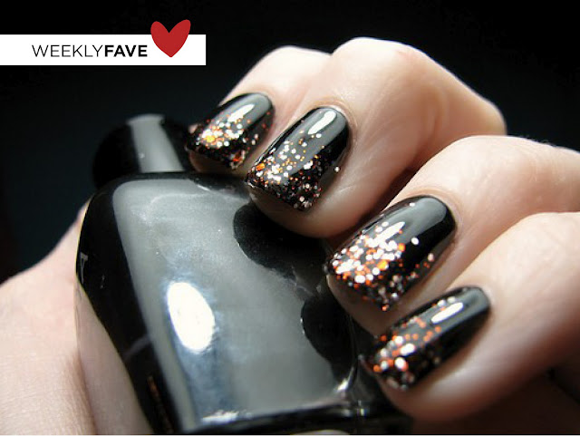 Nails, Nail Art Glitter polish faded to black