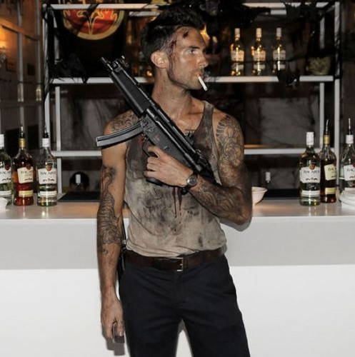Adam Levine wallpaper with a rifleman called Halloween costume :)