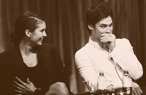 Ian Somerhalder and Nina Dobrev wallpaper possibly containing a concert entitled Nina&Ian