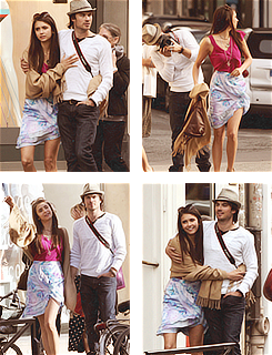 Ian Somerhalder and Nina Dobrev wallpaper possibly containing an outerwear, a playsuit, and a top called Nina&Ian