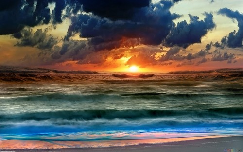 Planet Earth Wallpaper With A Sunset Titled Sea