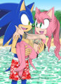 Sonic and Amy in the water and Amy in Sonic's arms