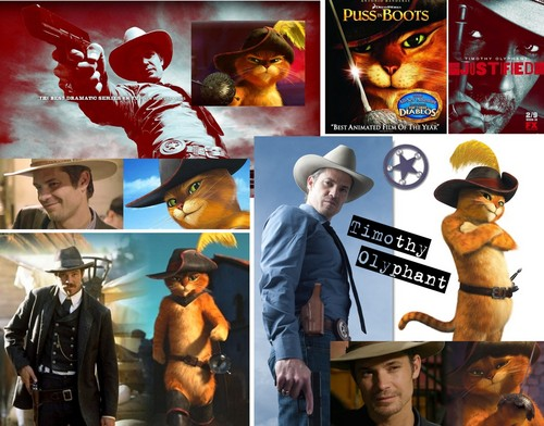 Timothy Olyphant پیپر وال probably with a sign, a stained glass window, and a fedora titled puss in boots