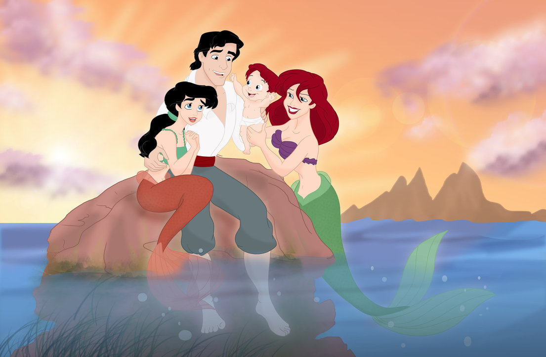 Disney Little Mermaid Ariel and Eric Family View Image
