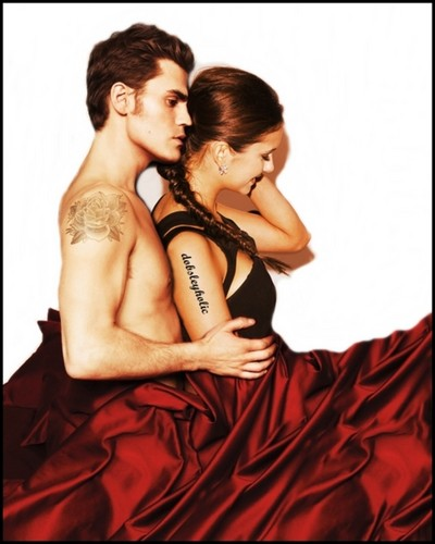 Paul Wesley and Nina Dobrev wallpaper containing a dinner dress, a gown, and a bridesmaid entitled Dobsley <3