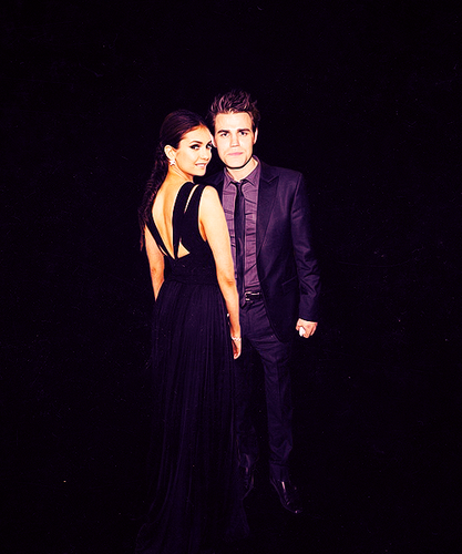 Paul Wesley and Nina Dobrev wallpaper with a business suit, a dress suit, and a bridesmaid titled Dobsley <3