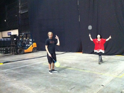 EV playing badminton [backstage in Australia]