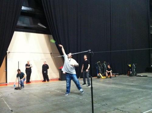 EV playing badminton [backstage in Australia]