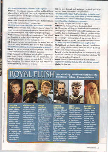 Game of Thrones- TV Guide artikulo Scan