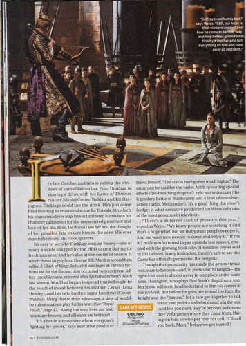 Game of Thrones- TV Guide Artikel Scan