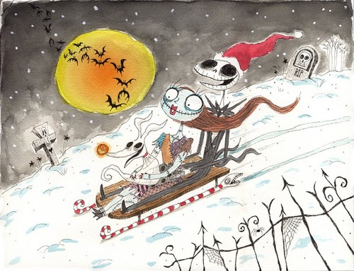 Jack, Sally & Zero - Tobogganing Trio - nightmare-before-christmas Fan Art