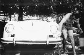 James Dean washing his car