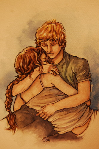 Peeta Mellark and Katniss Everdeen kertas dinding possibly with Anime titled Katniss & Peeta - selamat, peti deposit keselamatan and Sound