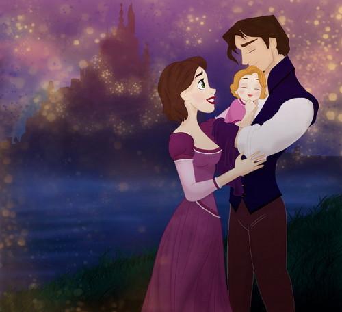 Диснеевские принцессы Обои titled Rapunzel and Eugene Family