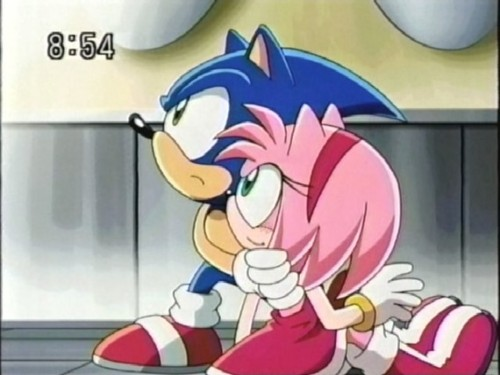 Sonic and Amy wallpaper probably containing anime entitled Sonic and Amy