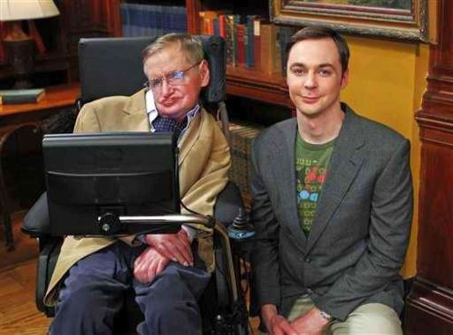 The Big Bang Theory wallpaper containing a business suit titled cast with Stephen Hawking