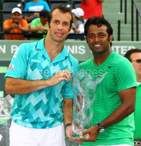 Paes and Stepanek celebrate their win against Max Mirnyi of Belarus and Daniel Nestor