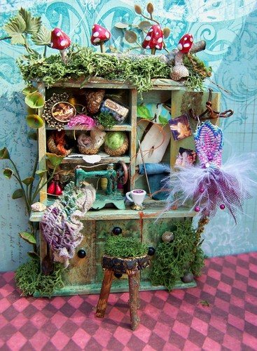 19th dia Miniatures Fairy Sewing Notions Cabinet