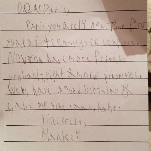 Blanket's birthday message to his sister paris so sweet :)