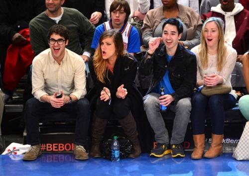Darren Criss, Mia Swier & Chuck Criss at the Cleveland Cavaliers vs New York Knicks game