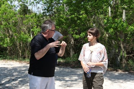 Dennis and Paris talking about what is happening at Fontainebleau State Park